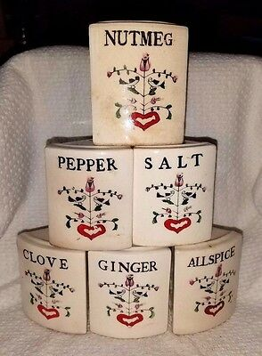 Vintage set of 6 Shakers, Salt and Pepper Shakers, Ceramic