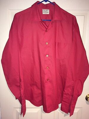 Vtg Van Heusen Hampshire House Red Button Down Dress Shirt sz L Large Disco Mod