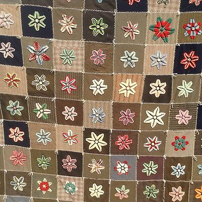 Antique Mennonite Star Quilt Stumpwork Plushwork Chenille Flowers Wool Squares