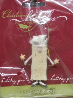 DEPT 56 CHRISTMAS KRINKLES  YELLOW GIFT PACKAGE PIN by Patience Brewster