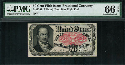 Fr-1381 $0.50 Fifth Issue Fractional Currency - 50 Cent - Crawford - PMG 66 EPQ
