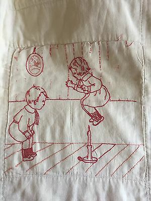Antique Feed Sack Hand Embroidered Baby Quilt From Estate