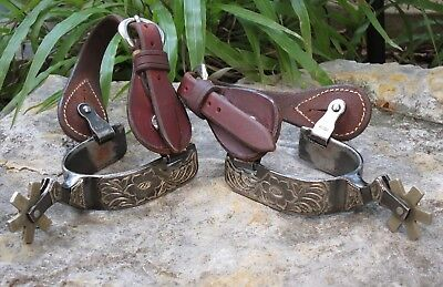 Vintage 6-Point Western  Spurs~Leather Straps~Korea