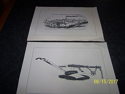Lot of  2 Prints Oliver Chilled Plow Works (Good Illus of Factory& plow) c1880s