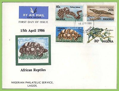 Nigeria 1986 African Reptiles set on First Day Cover