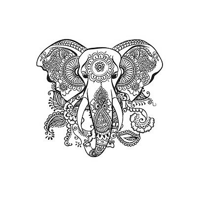 Boho Indian Elephant Mandala Summer Nature Animal Iron On T-shirt Transfer