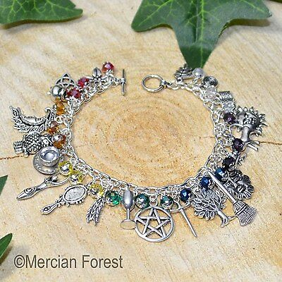 The Witches Chakra Charm Bracelet - Handmade Pagan Jewellery, Wicca, Witchcraft