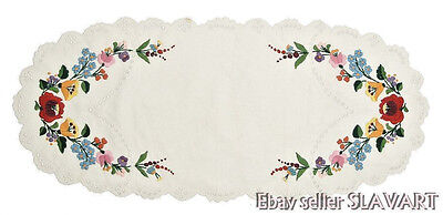 HUNGARIAN hand-embroidered table runner Matyo folk art floral white cotton oval