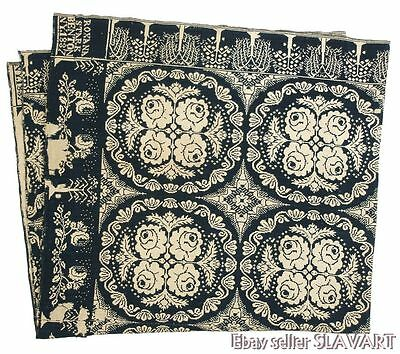 ANTIQUE American woven coverlet dated 1837 Benton NY signed blue reversible rare