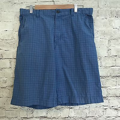 OLD NAVY Mens Blue Plaid Flat Front Board Summer Shorts Size 32
