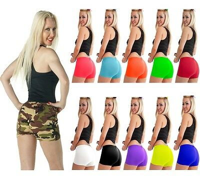 Ladies UV Neon Lycra Shorts Hot Pants Dance Party Casual Club Gym 11 Colours