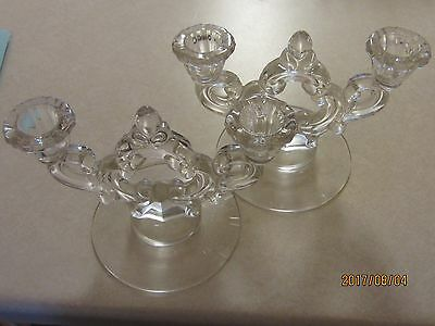 HOLIDAY Dinner Table Candelabra Vintage Pair ART GLASS Crystal CANDLE HOLDERS