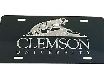 CLEMSON TIGER ON THE ROCK Car Tag Diamond Etched on Aluminum License Plate