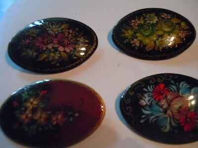 Vintage Russian handpainted laquered pin lot