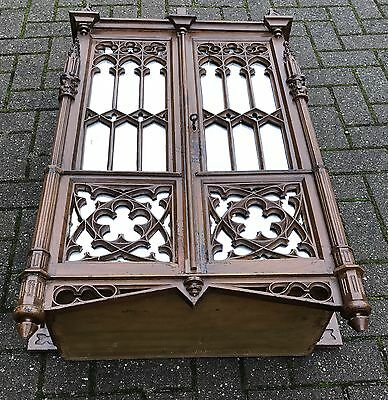 Antique Gothic Revival Hand-Carved Wall Cabinet