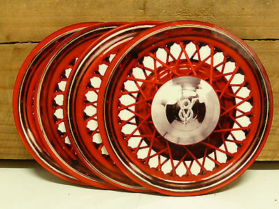 Ford V8 Wire Wheels - 95Mm Mdf/cork Beer Coaster Set Of 4