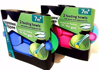 NEW Tommee Tippee Explora Scoop Weaning Bowl & Lid 7m+ Twin 2 Pack Feeding Sets