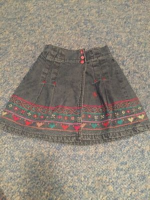 Mamas and Papas blue denim floral paisley skirt baby girls 18-24 month