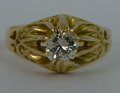 Gypsy Design 0.60 Carat Diamond 18ct Gold Solitaire Engagement Ring d0676
