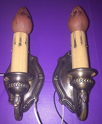 Wired Pair Sconces Vintage Electric Candles Uniform Patina Great!  2C
