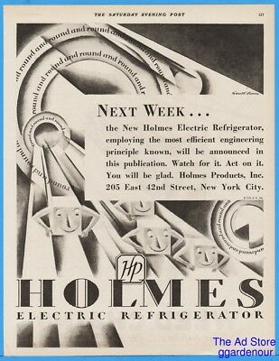 1929 Holmes Prod HP Electric Refrigerator Everett Henry Art Deco Introductory Ad