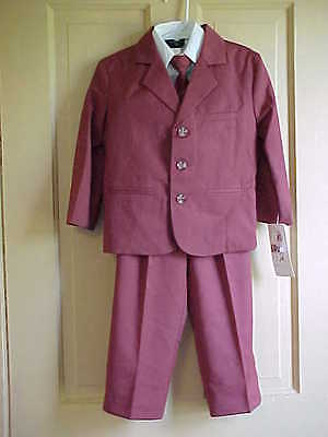 Boys Sz 4 Suit 5 pieces Shirt clip on tie Vest Jacket Pants Burnt Orange Brown