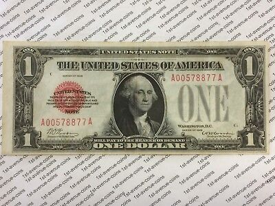 $1 1928 Red Seal United States Note - Rare And Hard To Find In Better Condition!