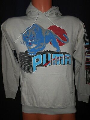 Vtg 80s PUMA Hoodie Sweater Sz Youth Large/XL Graphic Read Trashed