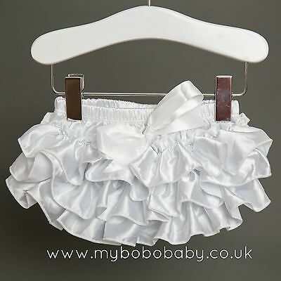 Baby Girl White Bloomers Frilly Nappy Cover, 0 - 12 months