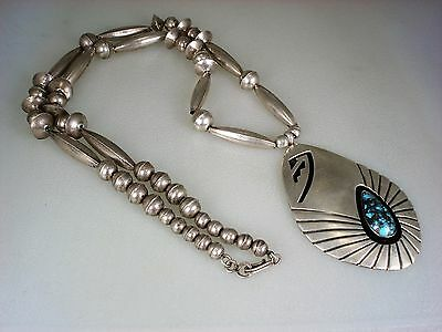 OLD NAVAJO STERLING SILVER BEAD NECKLACE w/ WEBBED TURQUOISE SHADOWBOX PENDANT