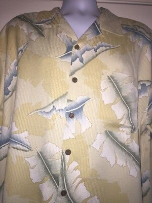 Tommy Bahama Floral Mens Button-Front 100% Silk Shirt Size: XL Short Sleeve