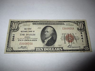 $10 1929 The Dalles Oregon OR National Currency Bank Note Bill! Ch. #3441 VF!