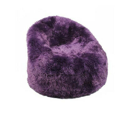 Purple Merino Sheepskin Bean Bag Cover Shaggy Fur Wool