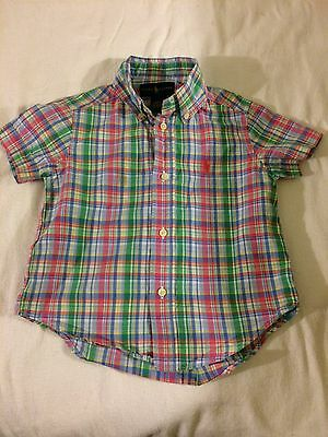 Polo Ralph Lauren Toddler Boys Button Down Plaid Short Sleeve Shirt 2T