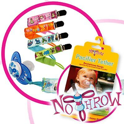 4 Pack No Throw Pacifier Clips for Boys or Girls (Colors) Fits All Pacifiers