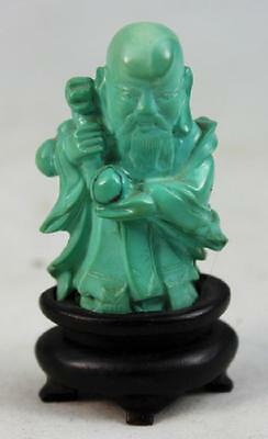 Chinese Carved Turquoise Statue w.Wood Base