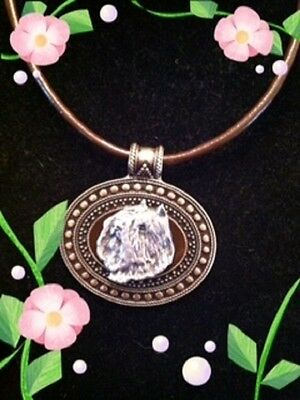 BOUVIER des Flandres  Dog Brass Medallion on leather cord~necklace~jewelry