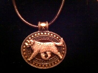 Bernese Mountain Dog Brass Medallion on leather cord~necklace~BERNER