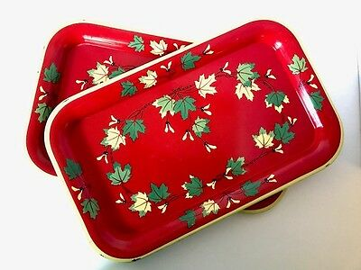 "Vintage Red Metal Trays with Fall Leaves 14 1/4"" x 8 1/4"""