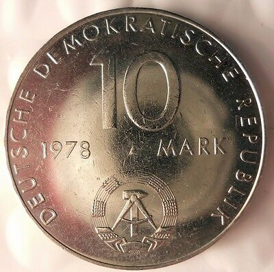 1978 EAST GERMANY 10 MARK - AU - Hard to Find Cold War Coin - Lot #815