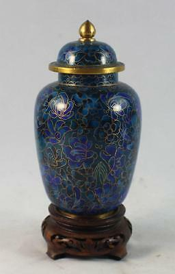 Chinese Cloisonne Tea Caddy w,Wood Base
