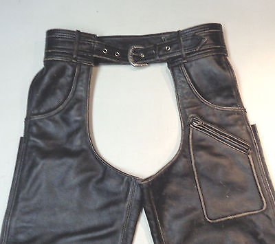 Harley Davidson Distressed Leather Panhead Jean Chaps Lined Mens Medium Med  107
