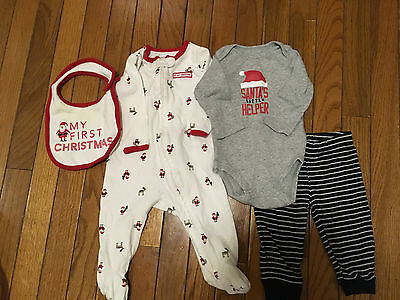 Carter's Baby Boy Size 6 Mo - Two Baby Boy First Christmas Outfits (4 Pcs)