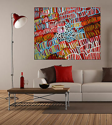 """47"""" Aboriginal Art Painting Insects Grubs thick Oils to order by Jane Crawford"""