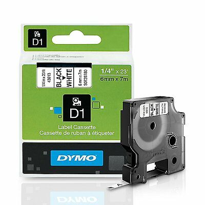 DYMO D1 Labeling Tape for Label Makers, Black print on White tape, 1/4'' W x 23'