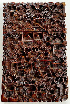 Antique Superb Fine Hand Carved Wood Chinese Card Case Exceptional Quality