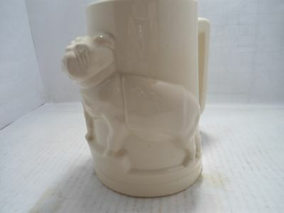 Bulldog Collectible:vintage Ceramic White Mug With 3D Bulldog On The Side.