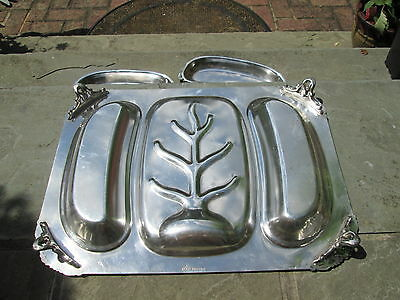 """Antique English Crown Silverplate Shell Baroque Covered Serving Platter Tree 18"""""""