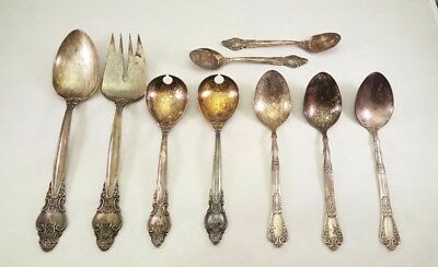 LOT 9 Antique RUSSIAN USSR Melchior Silverplate Serving Spoons Fork Utensils