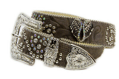 New Dark Brown Leather w/ Heart & Wings Conchos - 356 Ladies Western Bling Belt